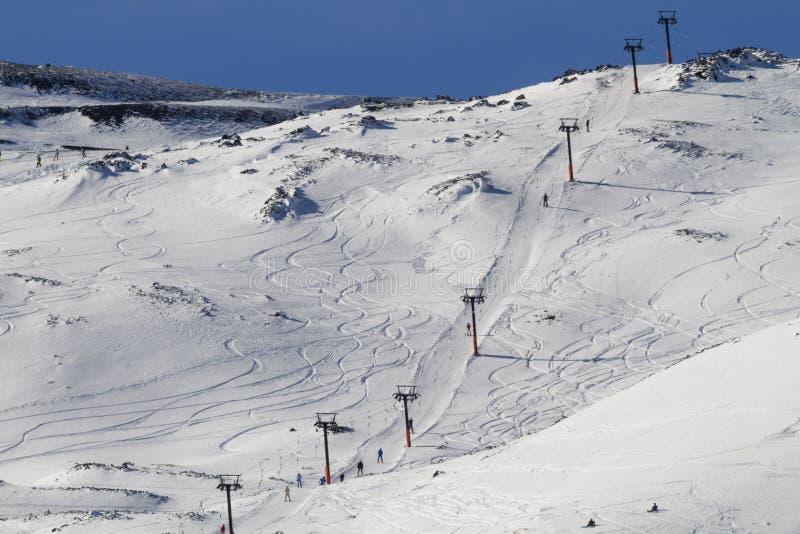 Etna滑雪吊车 库存照片