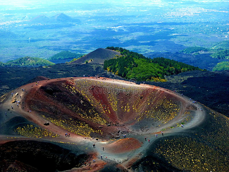 Etna. Breathtaking views of an extinct crater of Etna, Italy royalty free stock image