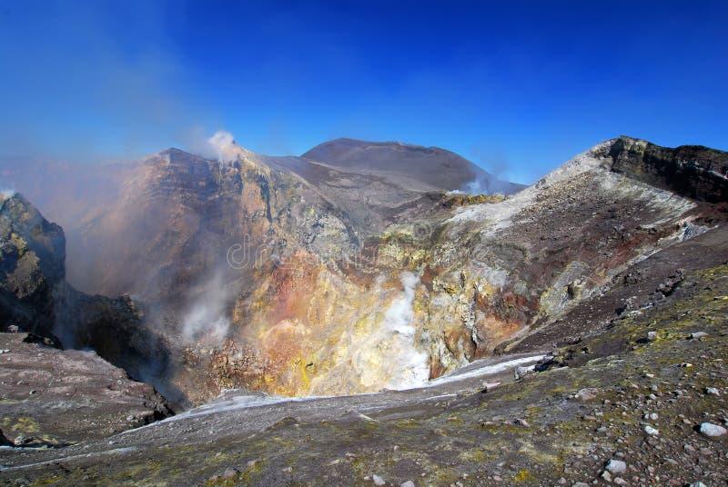 Etna crater in Sicily stock photos