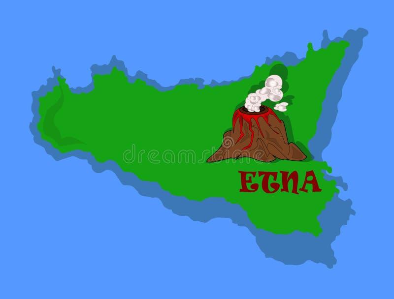 Etna e Sicília ilustração do vetor