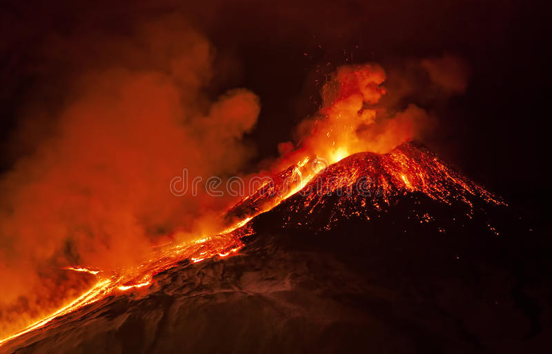 Etna eruption. South est craters eruption stock photos