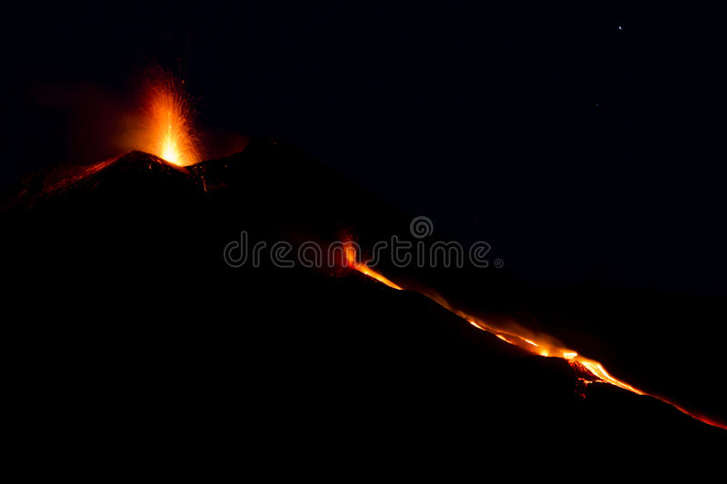 Etna Eruption image stock
