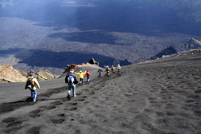 Etna landscape: the descent. Etna landscape, the descent to valley royalty free stock photo