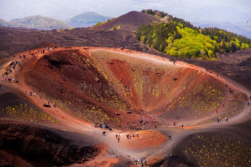 Etna national park panoramic view of volcanic landscape with crater, Catania, Sicily.  royalty free stock photo