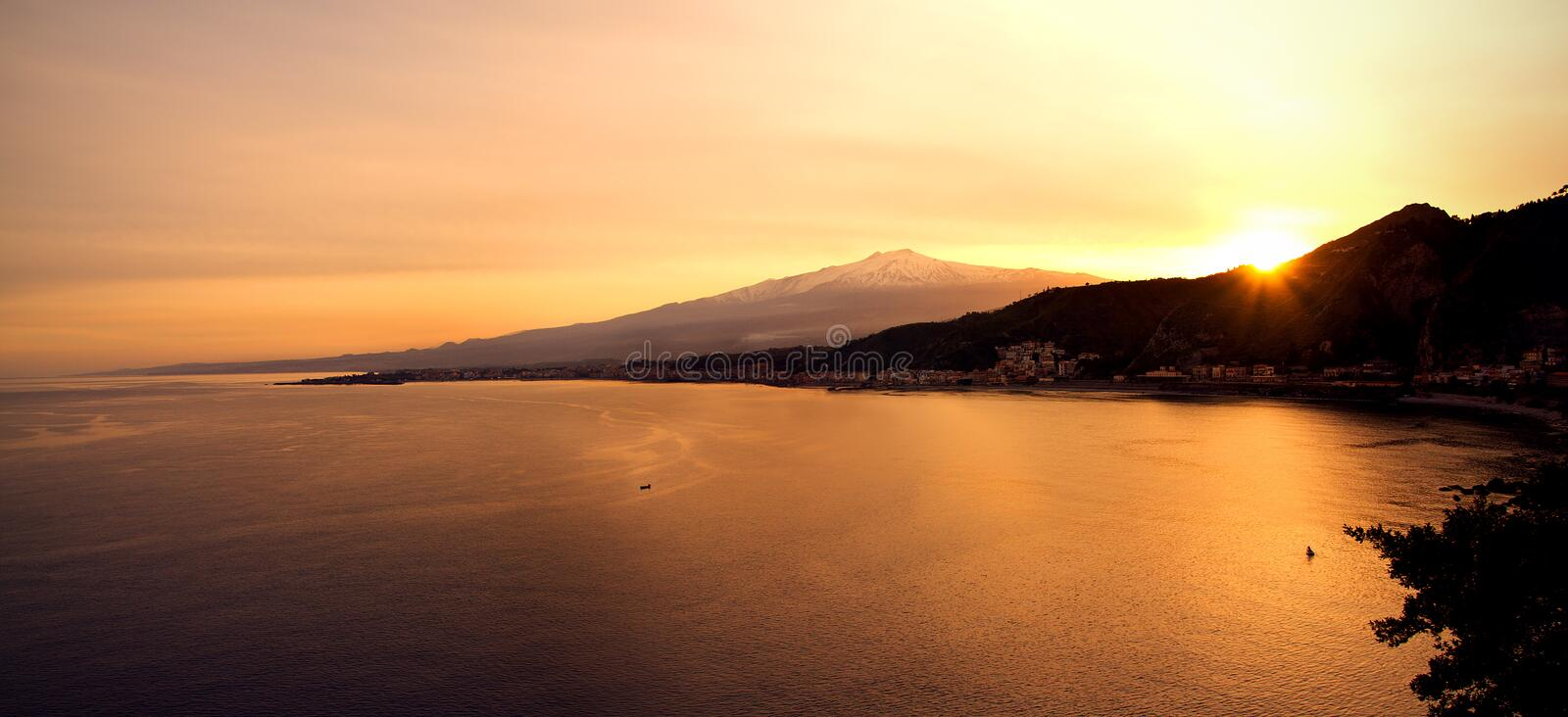 Download Etna and sea stock photo. Image of flare, hill, city - 13764646