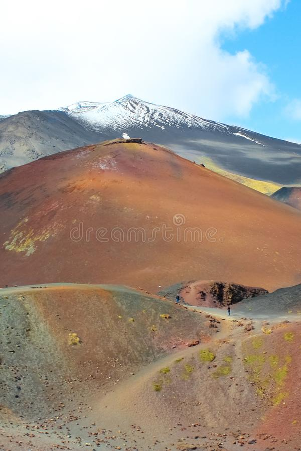 Etna volcano and adjacent Silvestri craters in Italian Sicily captured on a vertical photography. The damaged volcanic landscape. Is a popular tourist royalty free stock photo
