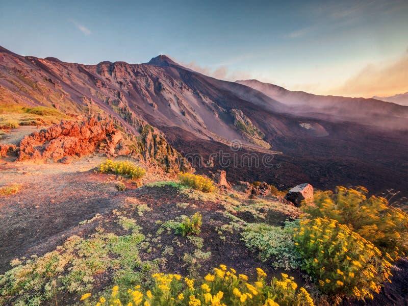 Etna Volcano em Sicília no nascer do sol fotos de stock