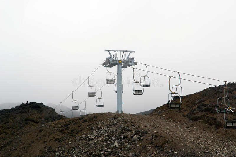 Etna volcano landscape. At an altitude of 1,000 meters above sea level. Ski lifts at Etna in foggy weather royalty free stock images
