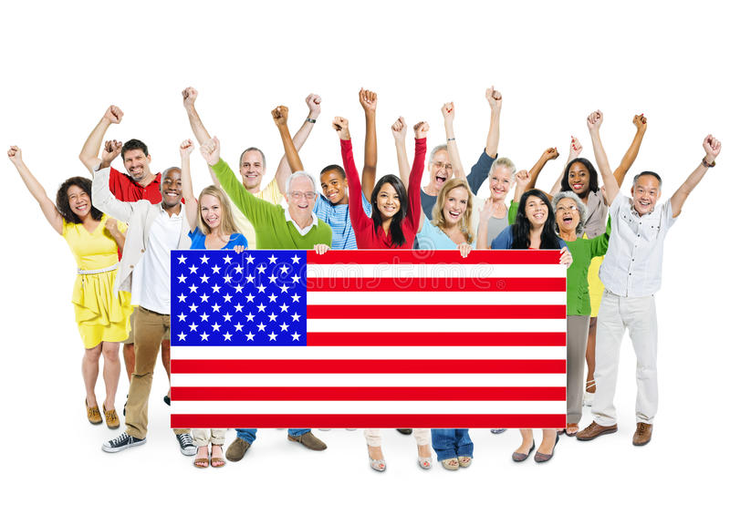 etniczna grupa ludzi Z flaga amerykańską fotografia stock