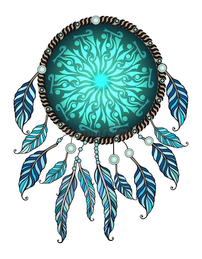 Etniczna ilustracja, plemienny amulet Amerykańskich indianów tradycyjny symbol obrazy stock