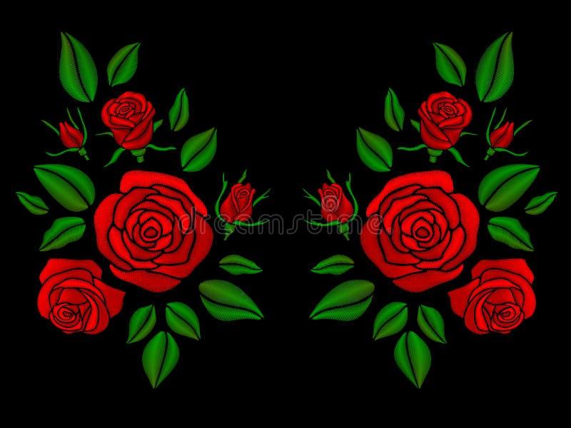 Etniczna kwiecista neckline broderia z róża wektoru ilustracją royalty ilustracja