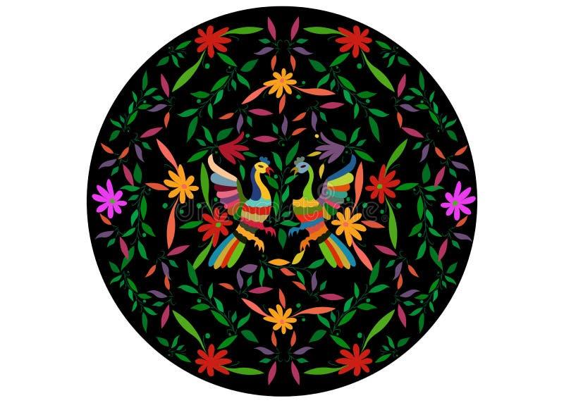 Etniczna Meksykańska makata z hafciarskimi kwiecistymi i pawimi dżungli zwierzętami ręcznie robiony Naiwne druku ludu dekoracje ł ilustracja wektor