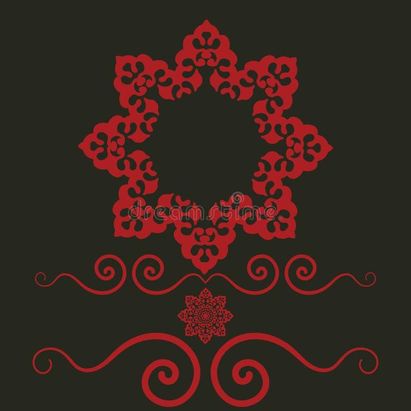 Etniczna rama z kwiecistymi motywami Mandala stylizujący okładkowy druku szablon dla zaproszenia Boho szalony projekt ilustracja wektor