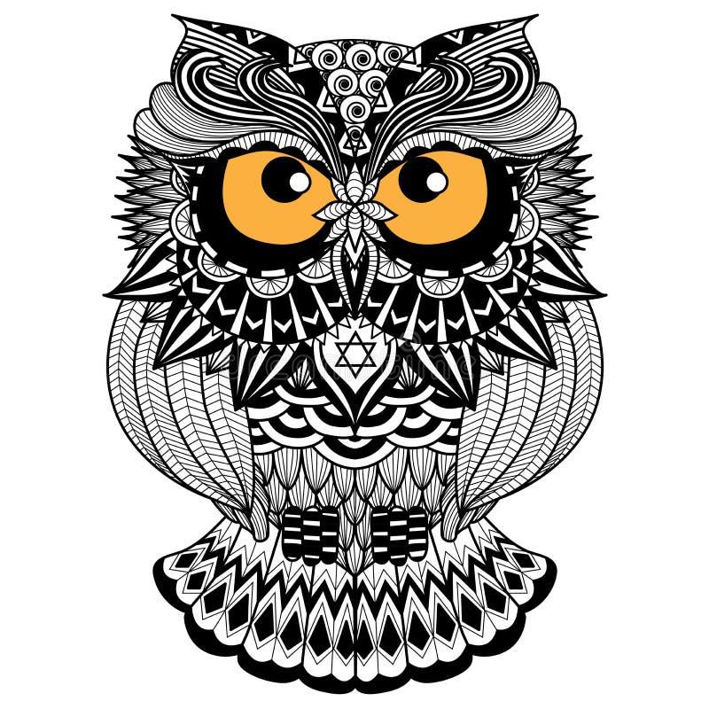 Etniczna sowa, afrykanin, hindus, totem dla/koszulowego projekta, loga i ikony, royalty ilustracja