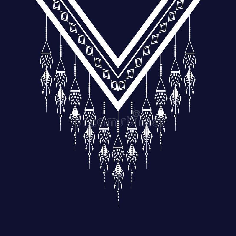 Etniczna szyi broderia dla mody wewnątrz i innych uses royalty ilustracja
