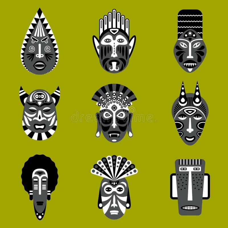 Etniczne plemienne maskowe ikony ustawiać ilustracji