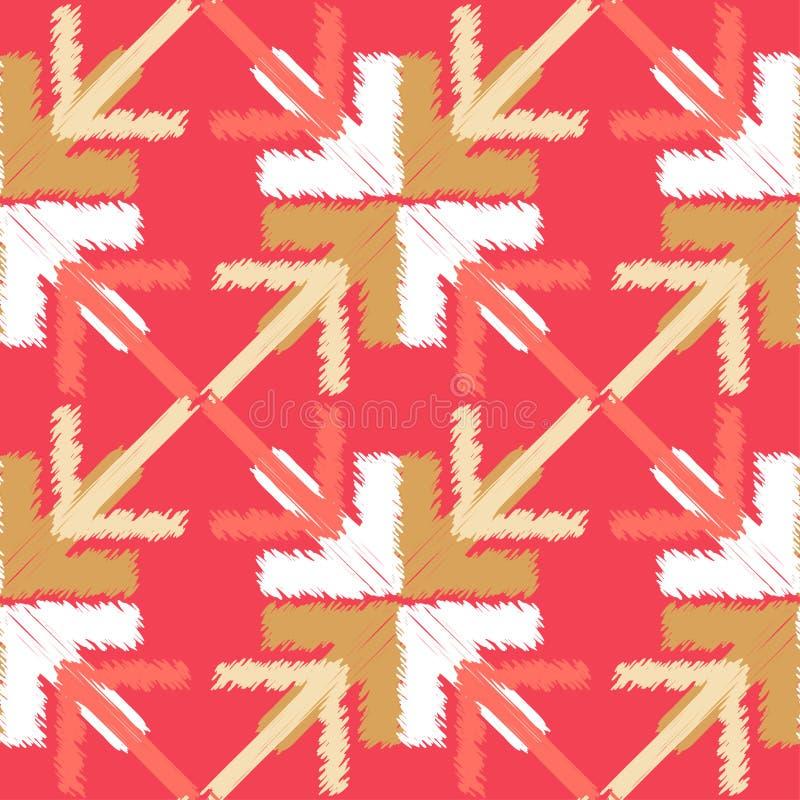 Etnicznego boho bezszwowy wzór E brushwork Ręki kluć się Skrobaniny tekstura r ilustracja wektor