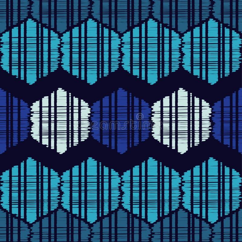 Etnicznego boho bezszwowy wzór Kształty błękitni sześciokąty tradycyjne ornament plemienny wzoru Ludowy motyw ilustracja wektor