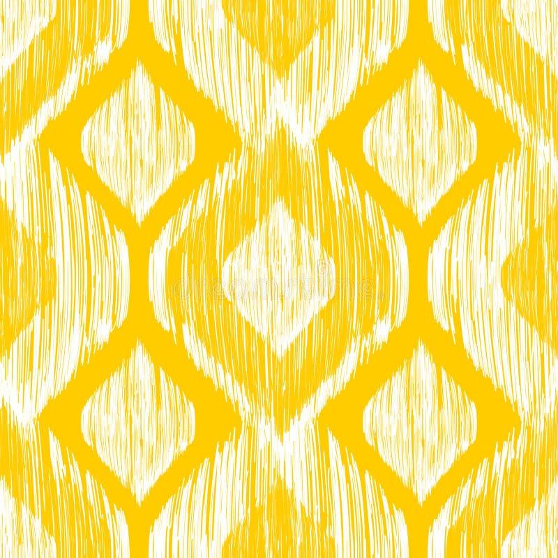 Etnicznego nowożytnego plemiennego ikat białej i żółtej mody bezszwowy wzór Wektorowy ikat tło ilustracji