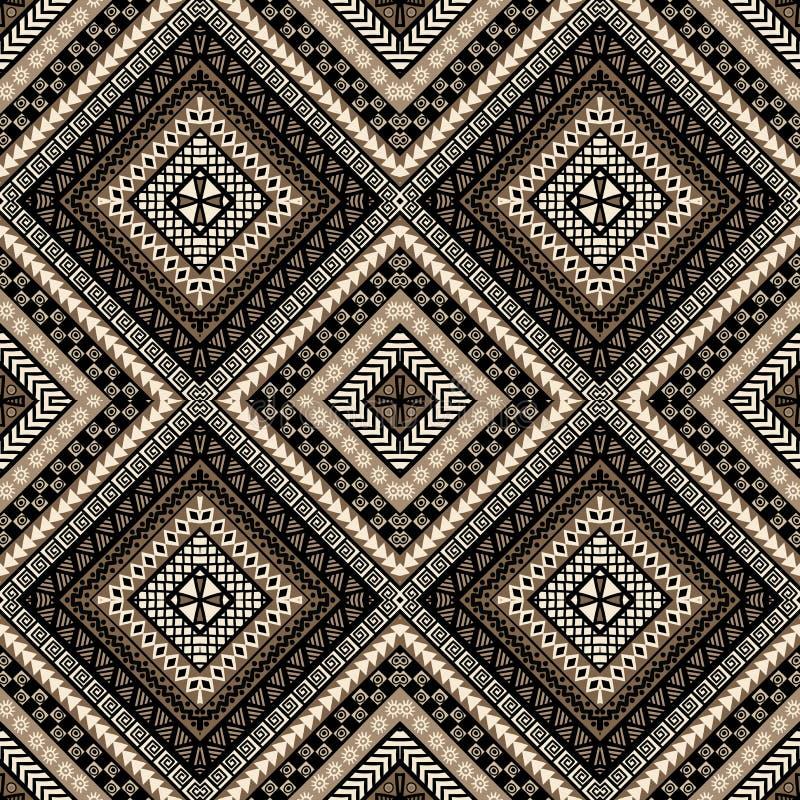 Etnicznego romboidu bezszwowy wzór w afrykanina stylu ilustracji