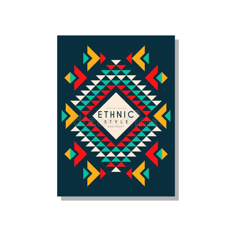 Etnicznego styl karty szablonu abstrakcjonistyczny projekt, ethno plemienny geometryczny ornament, modny deseniowy element dla bi ilustracja wektor