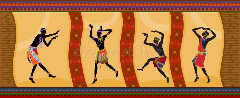Etnicznego tana afrykańscy ludzie ilustracja wektor