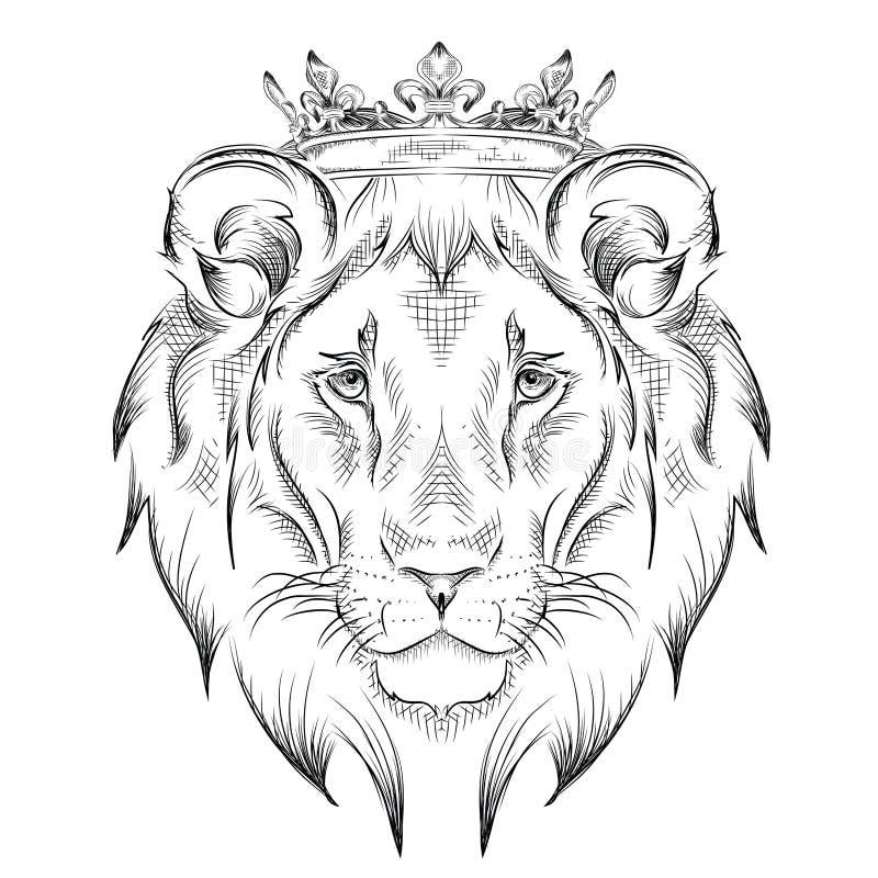 Etnicznej ręki rysunkowa głowa jest ubranym koronę lew totemu, tatuażu projekt/ Use dla druku, plakaty, koszulki również zwrócić  ilustracja wektor