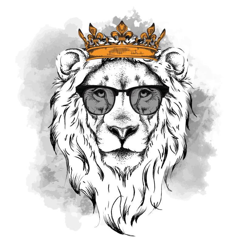 Etnicznej ręki rysunkowa głowa jest ubranym koronę lew w szkłach i Ja może używać dla druku, plakaty, koszulki Wektorowy Illustra royalty ilustracja