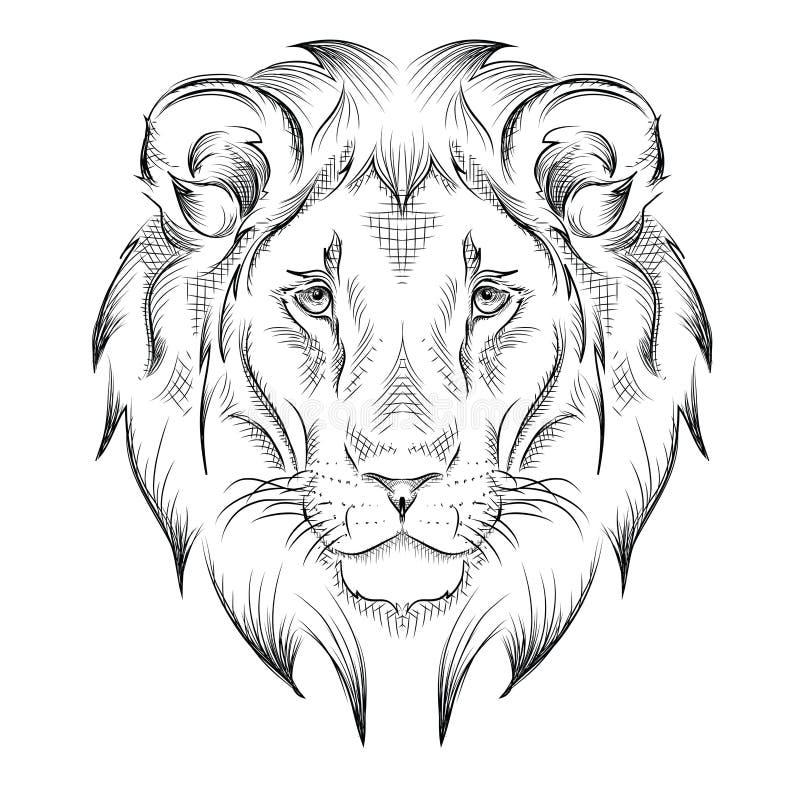 Etnicznej ręki rysunkowa głowa lew totemu, tatuażu projekt/ Use dla druku, plakaty, koszulki również zwrócić corel ilustracji wek ilustracja wektor
