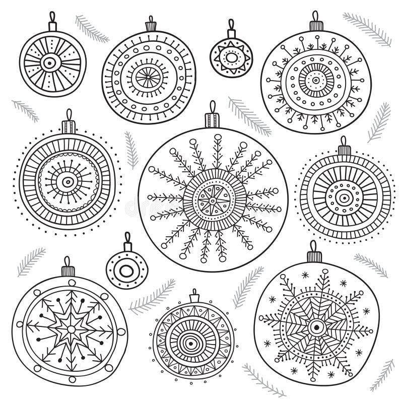 Etniczni bożych narodzeń baubles ustawiający royalty ilustracja