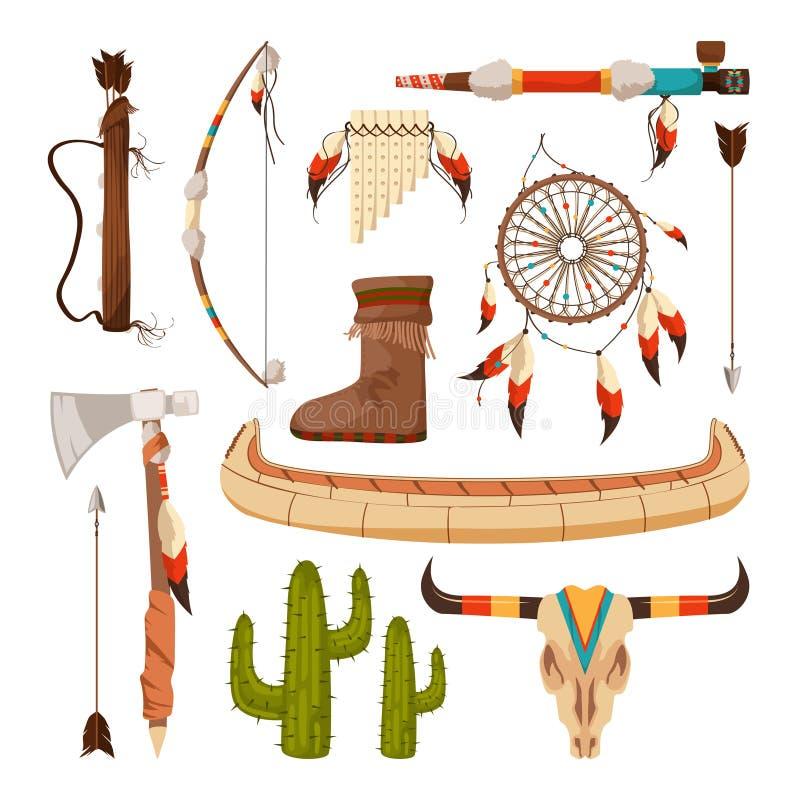 Etniczni i plemienni elementy i symbole amerykańscy hindusi ilustracji