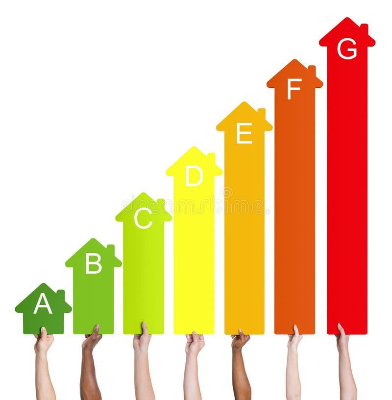 Etniczni ludzie trzyma domowego energetycznego wykres ilustracja wektor