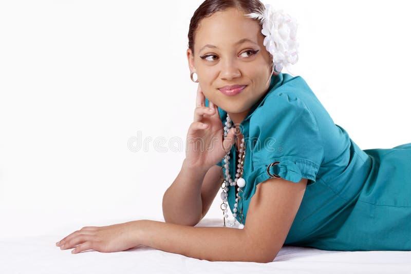 etniczni mieszani target175_0_ żołądka kobiety potomstwa fotografia royalty free