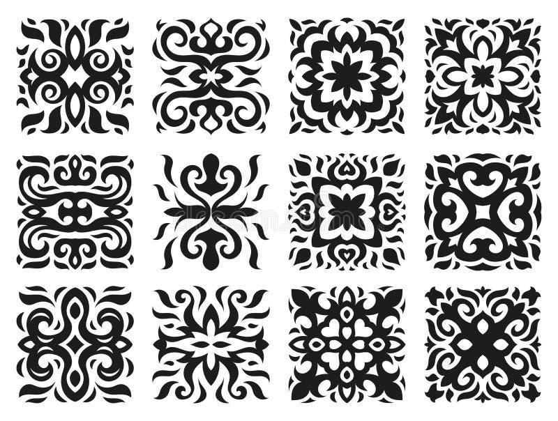 Etniczni wzory w postaci płytek czarny i biały royalty ilustracja