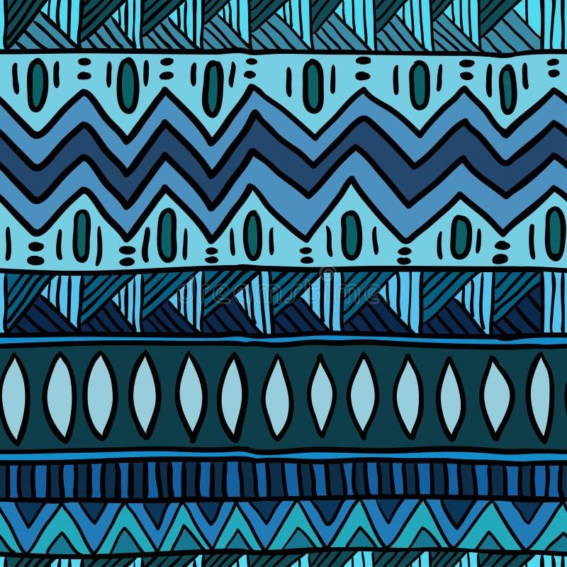 Etniczny błękitny bezszwowy wzór Boho abstrakcjonistyczny tekstylny druk royalty ilustracja