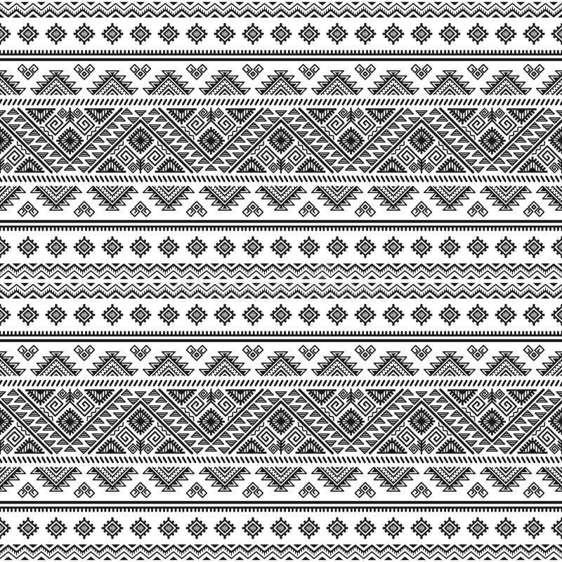 Etniczny bezszwowy pasiasty monochromu wzór royalty ilustracja