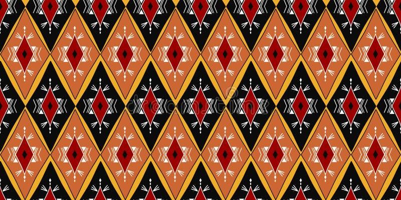 Etniczny bezszwowy wzór z kolorowego aztec ikat stylu kształta projekta wektorową ilustracją gotową dla druku Dobry dla kobiety m ilustracji