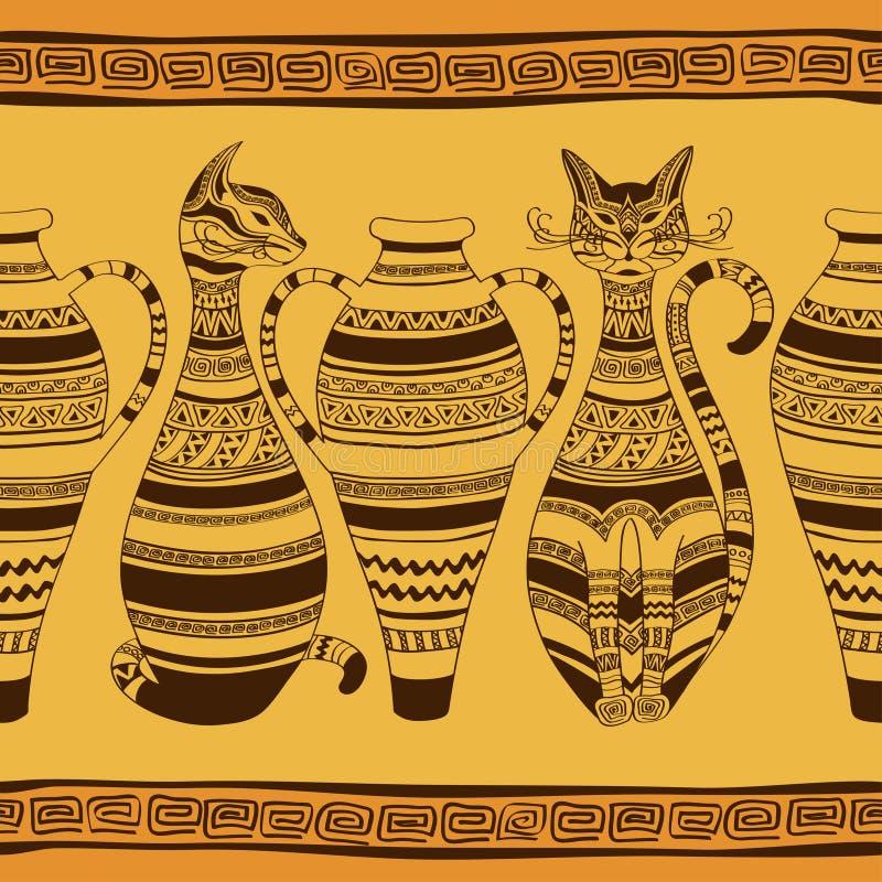 Etniczny bezszwowy wzór z ornated wazami i kotami ilustracji