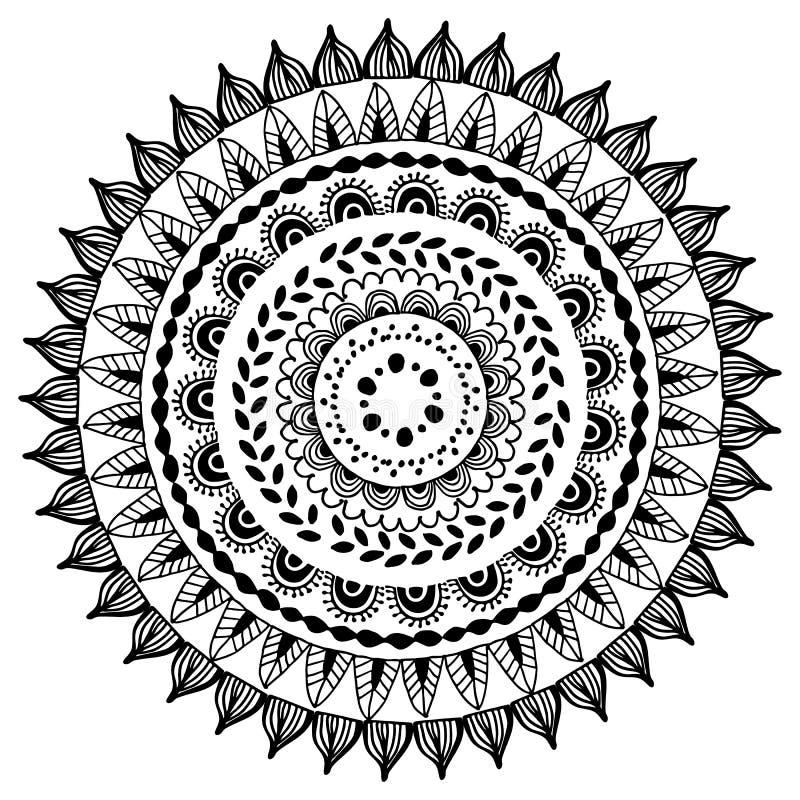 Etniczny dekoracyjny round mandala dla książki Dorosła kolorystyki strona również zwrócić corel ilustracji wektora obrazy royalty free