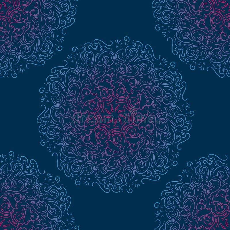 etniczny deseniowy bezszwowy Abstrakcjonistyczny orientalny mandala dla tapety, tkanina, tkanina, papier, strony internetowej tło royalty ilustracja