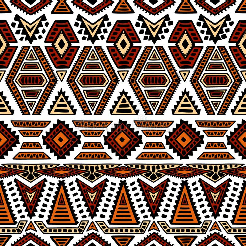 etniczny deseniowy bezszwowy Geometryczny ornament malujący ręką blA ilustracji
