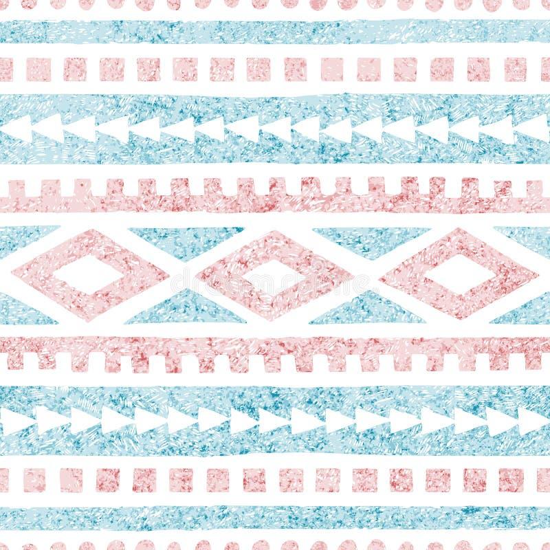 etniczny deseniowy bezszwowy Geometryczny ornament rysujący w ołówku Błękita i menchii cienie na białym tle r?wnie? zwr?ci? corel royalty ilustracja