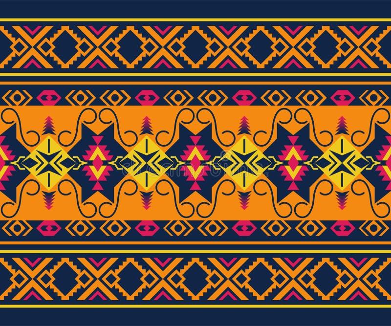 etniczny deseniowy bezszwowy Plemienny kilim Aztek, meksykanin, Boho, rodzima tkanina ilustracja wektor