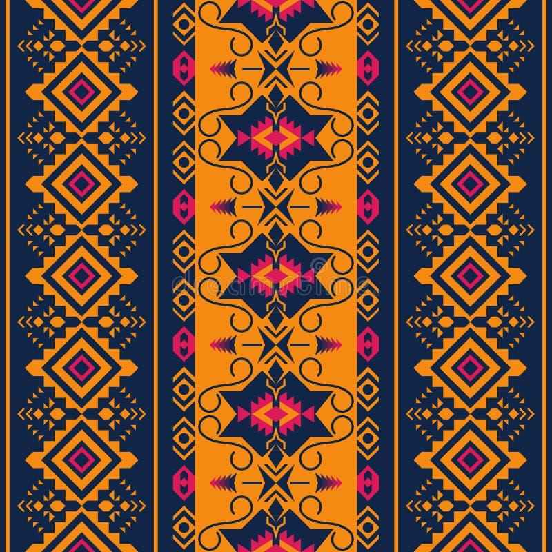 etniczny deseniowy bezszwowy Plemienny kilim Aztek, meksykanin, Boho, rodzima tkanina ilustracji