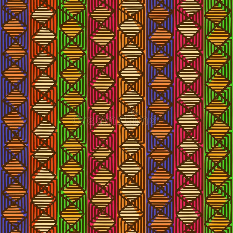 Etniczny geometryczny bezszwowy wzór ilustracja wektor