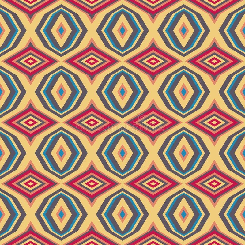 Etniczny geometryczny wzór w powtórce Tkanina druk Bezszwowy tło, mozaika ornament, retro styl ilustracja wektor