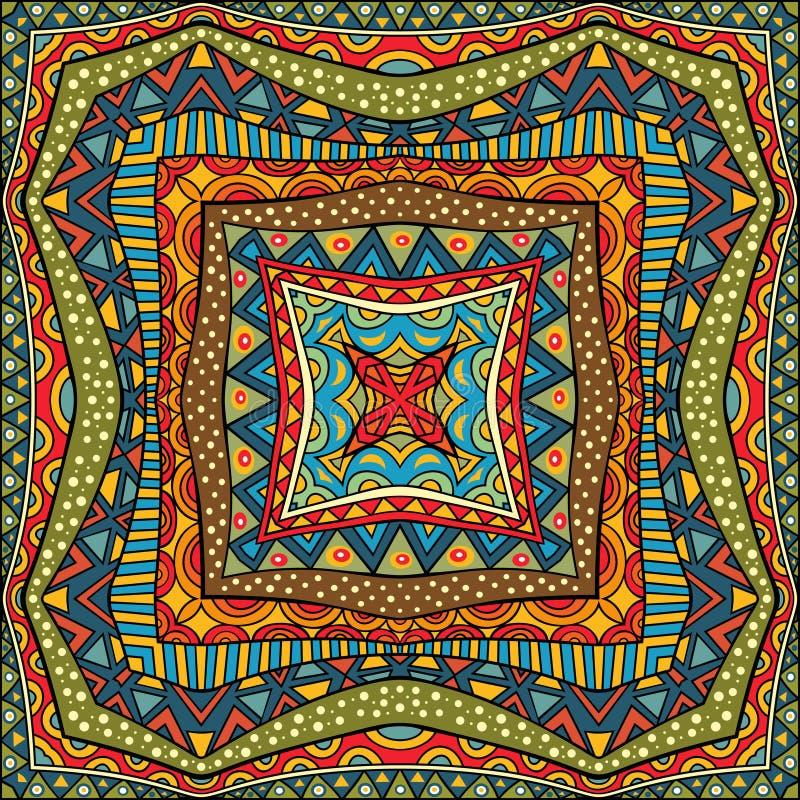 Etniczny Kwadratowy tło ilustracja wektor