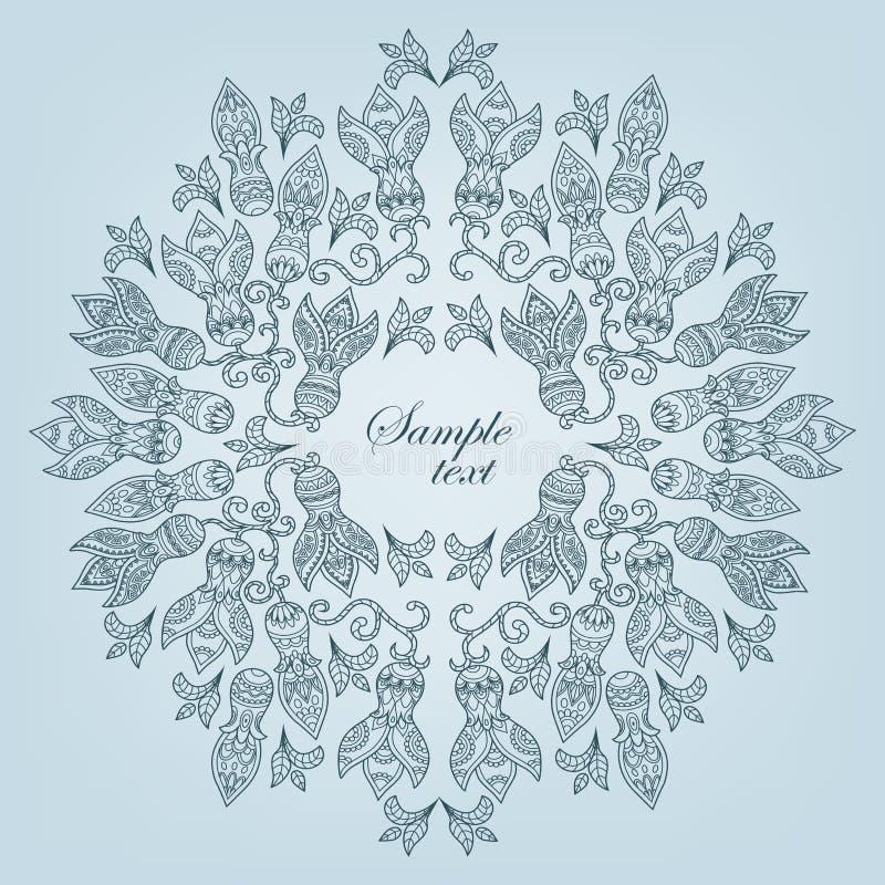 Etniczny kwiecisty deseniowy round ramy konturu błękit royalty ilustracja