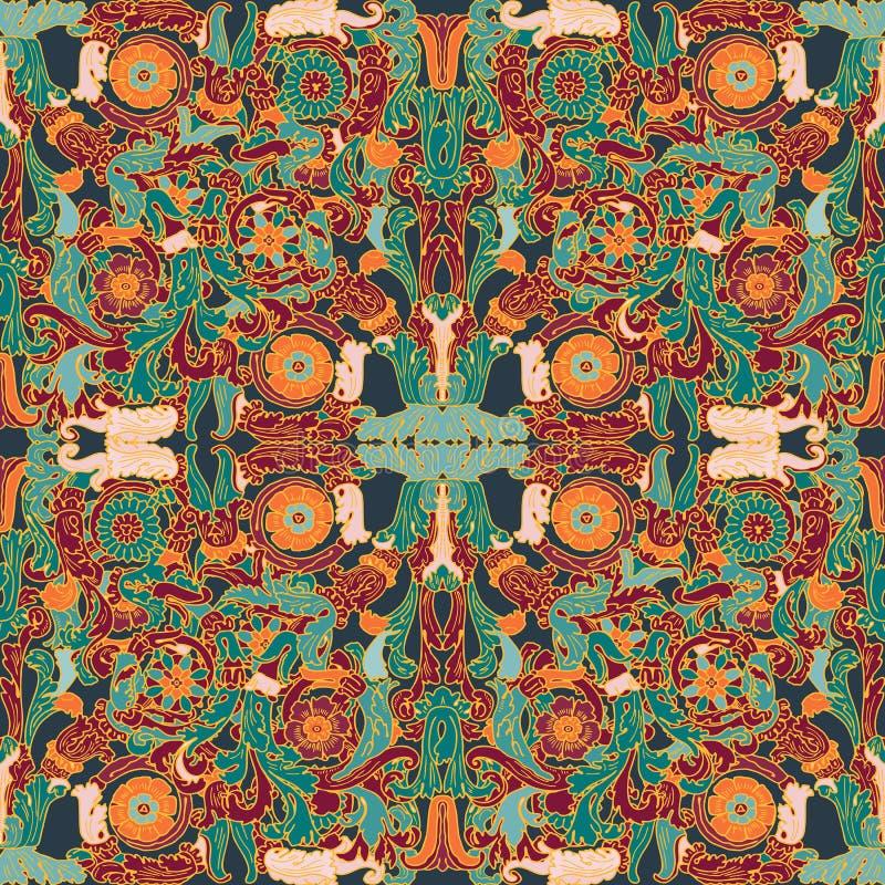 Etniczny kwiecisty mandala bezszwowy wz?r kolorowa t?o mozaika royalty ilustracja