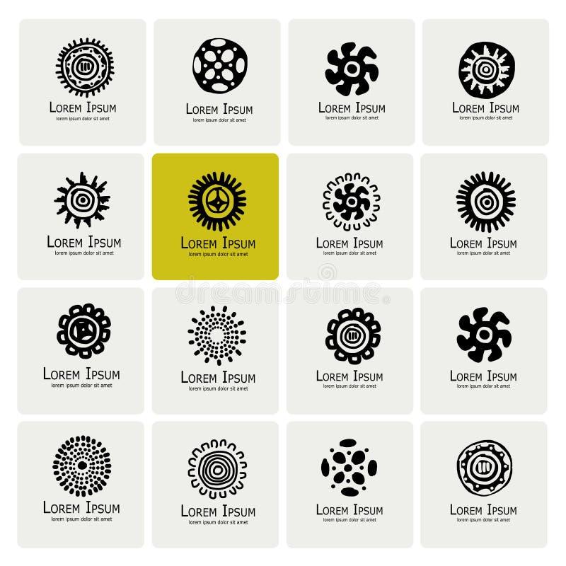 Etniczny logo ustawiający dla twój projekta ilustracji